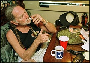 Willie Nelson smoking marijuana at home in Texas