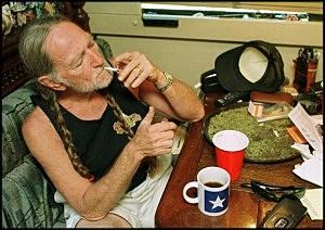 Willie Nelson smoking marijuana at home in Texas