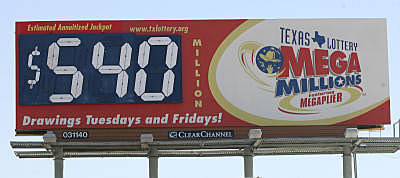 Billboard displaying the 540 Million Jackpot