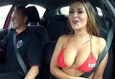 Zoo Glamour Models Ride Cars In Bikini Tops - Fast car magazine models