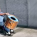 Handicap man plays drums