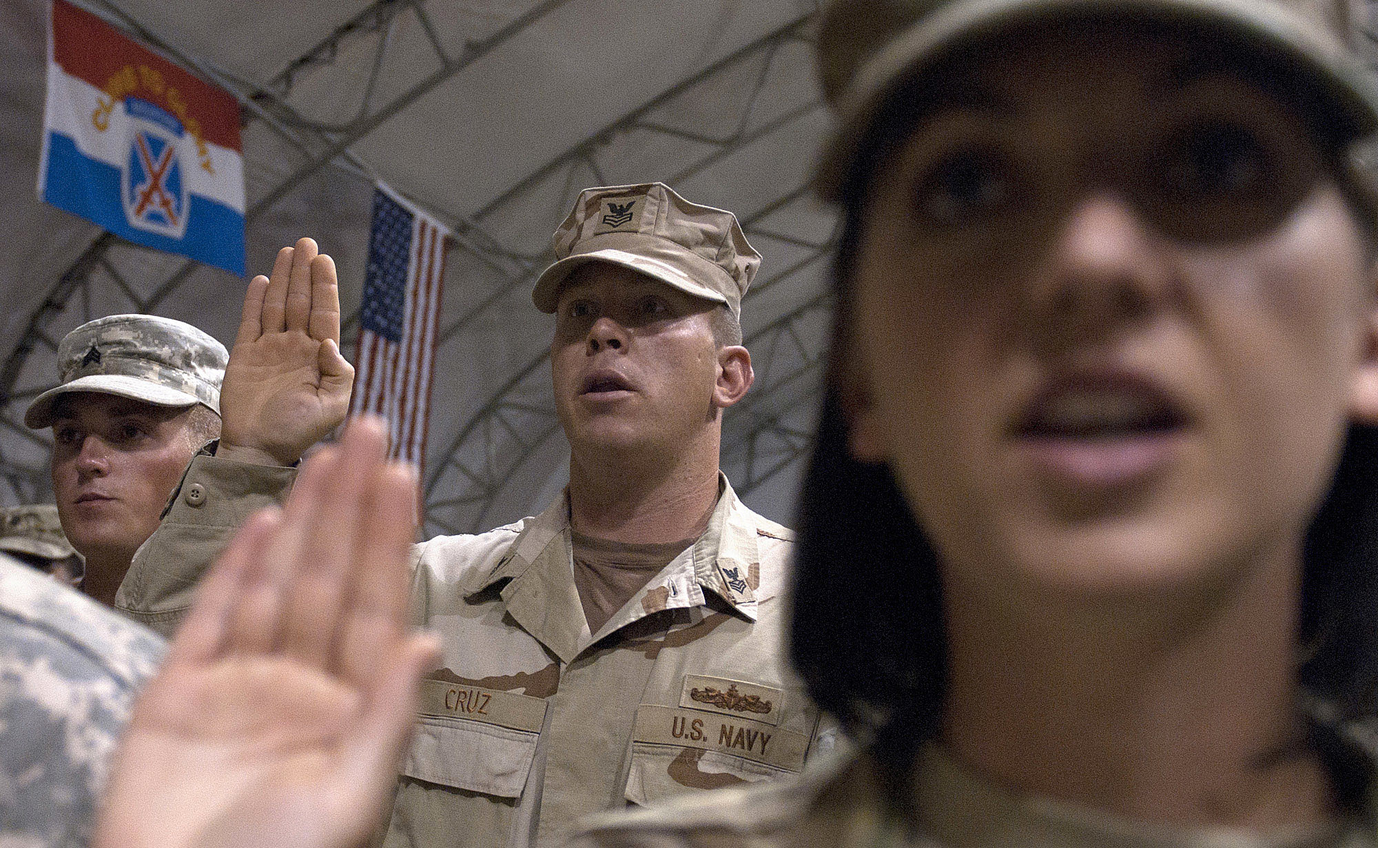 General Petraeus Administers The Oath Of Re-enlistment To 235 U.S. Service Members In  Kandahar